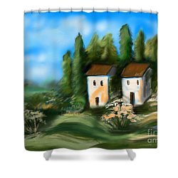 Shower Curtain featuring the digital art Countryside by Christine Fournier