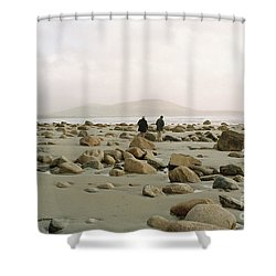 Shower Curtain featuring the photograph Couple And The Rocks by Rebecca Harman