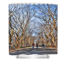 Couple At Literary Walk Shower Curtain by Randy Aveille