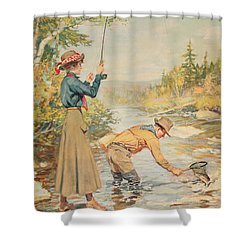 Couple Fishing On A River Shower Curtain by Anonymous