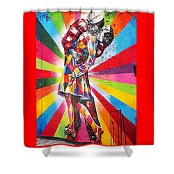 Couple Kissing In Times Square On V-j Day Shower Curtain by Rona Black