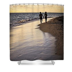 Couple Walking On A Beach Shower Curtain by Elena Elisseeva