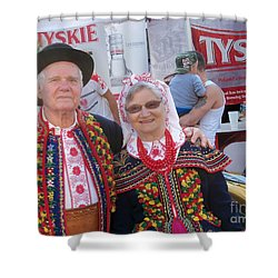 Couples In Polish National Costumes Shower Curtain by Lingfai Leung