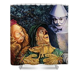 Courage Heart And Brains Shower Curtain by Cindy Anderson