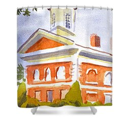 Courthouse With Picnic Table Shower Curtain by Kip DeVore