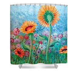 Courting Sunflowers Shower Curtain