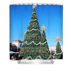 Courtyard Christmas Shower Curtain by Beverly Stapleton