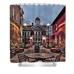 Courtyard Courthouse Shower Curtain
