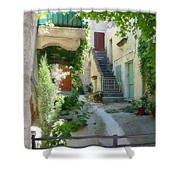 Courtyard Shower Curtain by Lauren Leigh Hunter Fine Art Photography