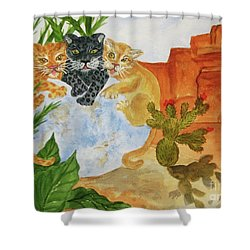 Shower Curtain featuring the painting Cousins - Big Cats by Ellen Levinson