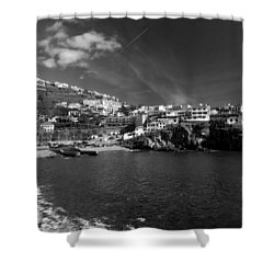 Cove In Black And White Shower Curtain