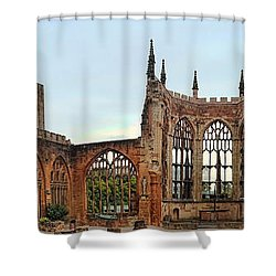 Coventry Cathedral Ruins Panorama Shower Curtain
