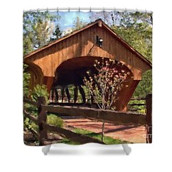 Covered Bridge At Olmsted Falls-spring Shower Curtain