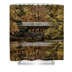 Shower Curtain featuring the photograph Covered Bridge At Sturbridge Village by Jeff Folger