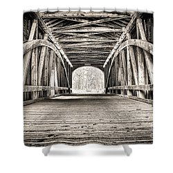 Covered Bridge B N W Shower Curtain