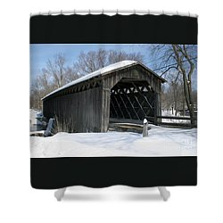 Shower Curtain featuring the photograph Covered Bridge In Winter by PJ Boylan