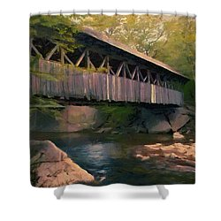 Shower Curtain featuring the painting Covered Bridge by Jeff Kolker