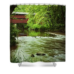 Covered Bridge Over French Creek Shower Curtain by Michael Porchik