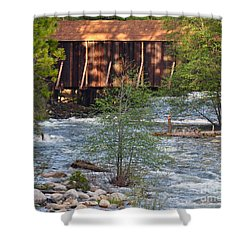 Shower Curtain featuring the photograph Covered Bridge Over The River by Debby Pueschel