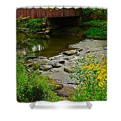 Covered Bridge Shower Curtain by Frozen in Time Fine Art Photography