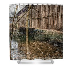 Covered Bridge Snowy Day Shower Curtain by Susan Maxwell Schmidt