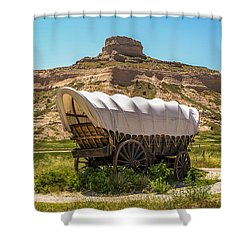 Shower Curtain featuring the photograph Covered Wagon At Scotts Bluff National Monument by Sue Smith
