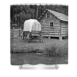 Covered Wagon Near Log Cabin Black And White Shower Curtain