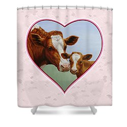 Cow And Calf Pink Heart Shower Curtain by Crista Forest