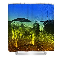 Shower Curtain featuring the digital art Cow On Lsd by Cathy Anderson