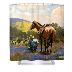 Cowboy And His Cows Shower Curtain