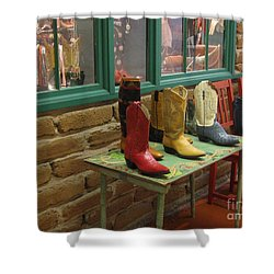 Shower Curtain featuring the photograph Cowboy Boots by Dora Sofia Caputo Photographic Art and Design