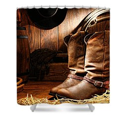 Cowboy Boots In A Ranch Barn Shower Curtain
