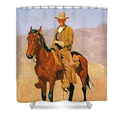 Cowboy Mounted On A Horse Shower Curtain by Frederic Remington