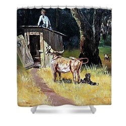 Cowboy On The Outhouse  Shower Curtain by Lee Piper