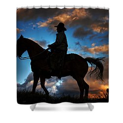 Shower Curtain featuring the photograph Cowboy Silhouette by Ken Smith