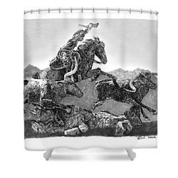 Cowboys And Longhorns Shower Curtain by Jack Pumphrey