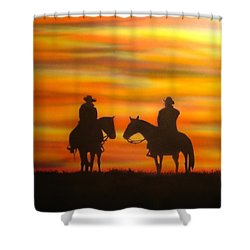 Cowboys At Sunset Shower Curtain