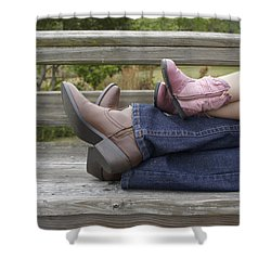 Shower Curtain featuring the photograph Cowgirls by Laurie Perry