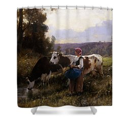 Cows At The Watering Hole Shower Curtain by Julien Dupre