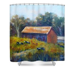 Cows By The Barn Shower Curtain