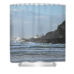 Cox Bay Afternoon Waves Shower Curtain