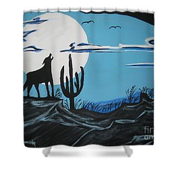 Shower Curtain featuring the painting Coyote by Jeffrey Koss