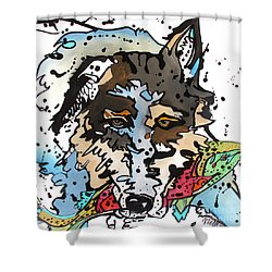 Shower Curtain featuring the painting Coyote  by Nicole Gaitan