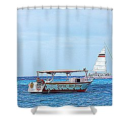Cozumel Excursion Boats Shower Curtain by Debra Martz