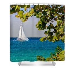 Cozumel Sailboat Shower Curtain by Mitchell R Grosky