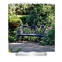 Cozy Southern Garden Bench Shower Curtain by Carol Groenen