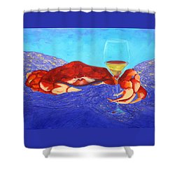 Shower Curtain featuring the painting Crab And Chardonnay by Nancy Jolley