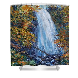 Crab Apple Falls Shower Curtain by Stanton Allaben