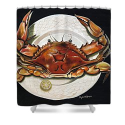 Crab  On Plate Shower Curtain