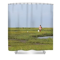 Crabbing At Mystic Island Shower Curtain
